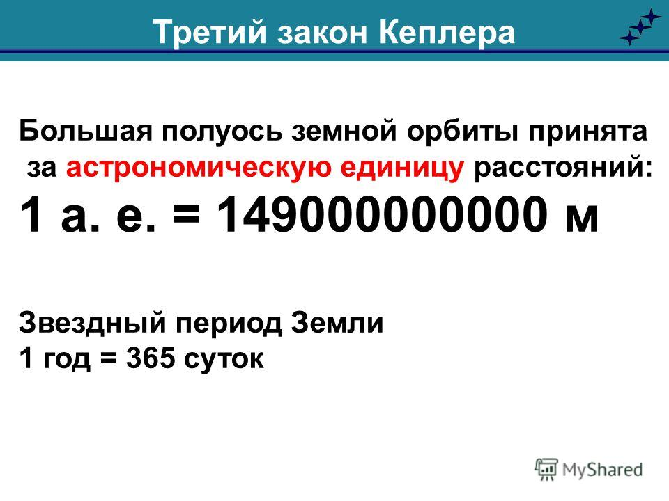 Большая полуось земной орбиты принята за астрономическую единицу расстояний: 1 а. е. = 149000000000 м Звездный период Земли 1 год = 365 суток Третий закон Кеплера