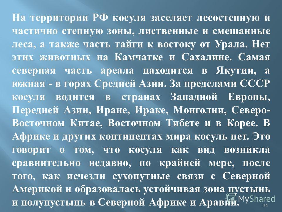 На территории РФ косуля заселяет лесостепную и частично степную зоны, лиственные и смешанные леса, а также часть тайги к востоку от Урала. Нет этих животных на Камчатке и Сахалине. Самая северная часть ареала находится в Якутии, а южная - в горах Сре