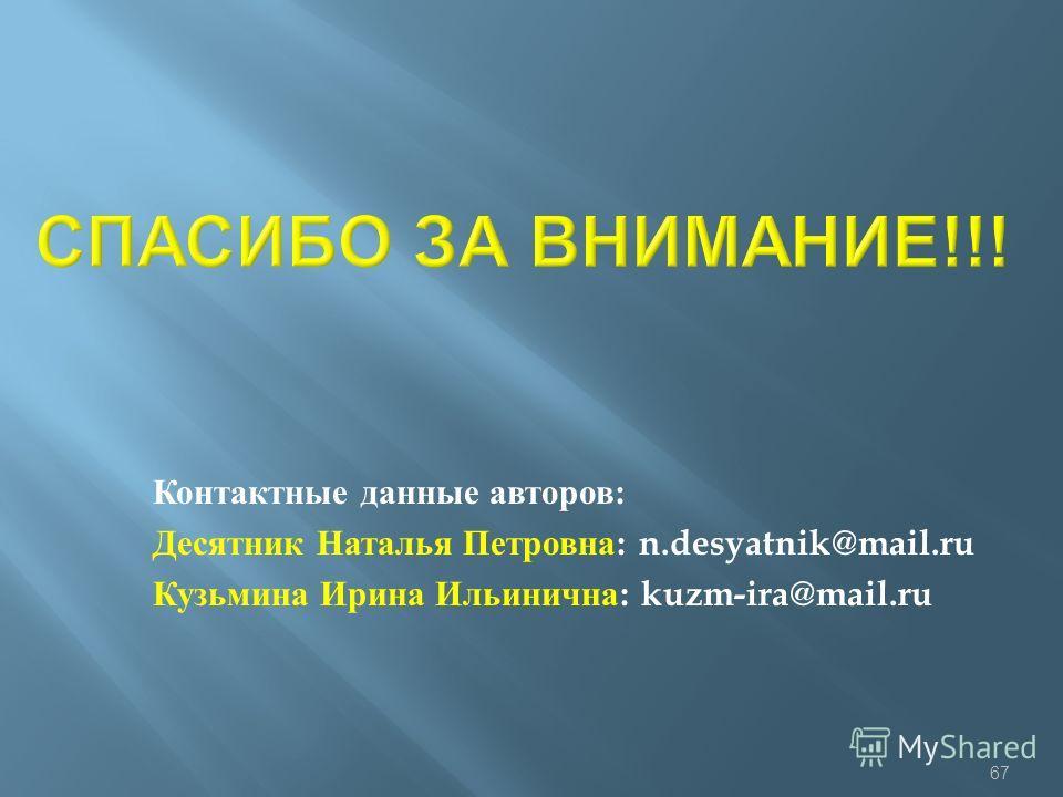 Контактные данные авторов : Десятник Наталья Петровна : n.desyatnik@mail.ru Кузьмина Ирина Ильинична : kuzm-ira@mail.ru 67