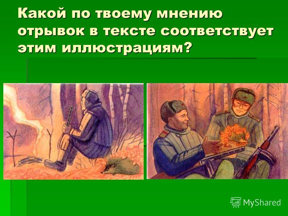 Какой по твоему мнению отрывок в тексте соответствует этим иллюстрациям?