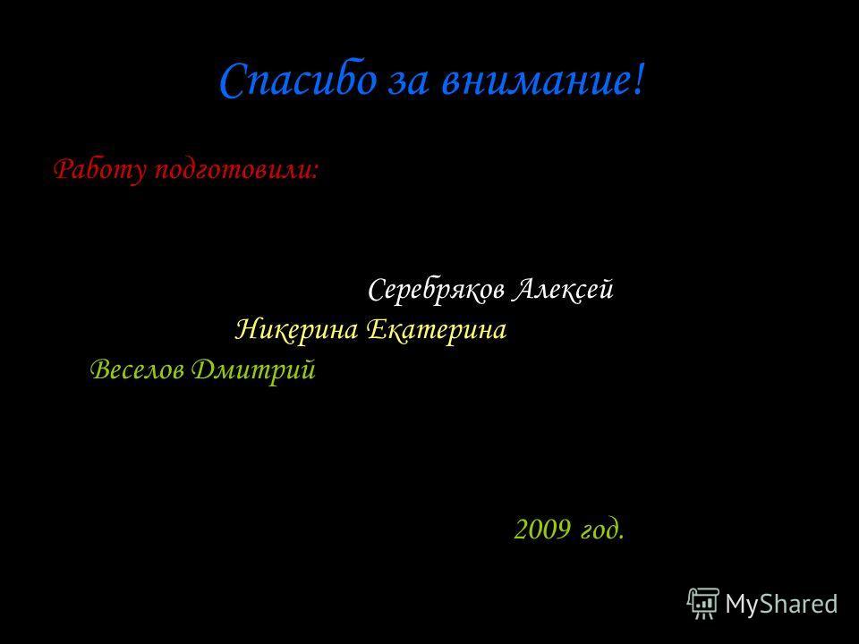 Спасибо за внимание! Работу подготовили: Серебряков Алексей Никерина Екатерина Веселов Дмитрий 2009 год.