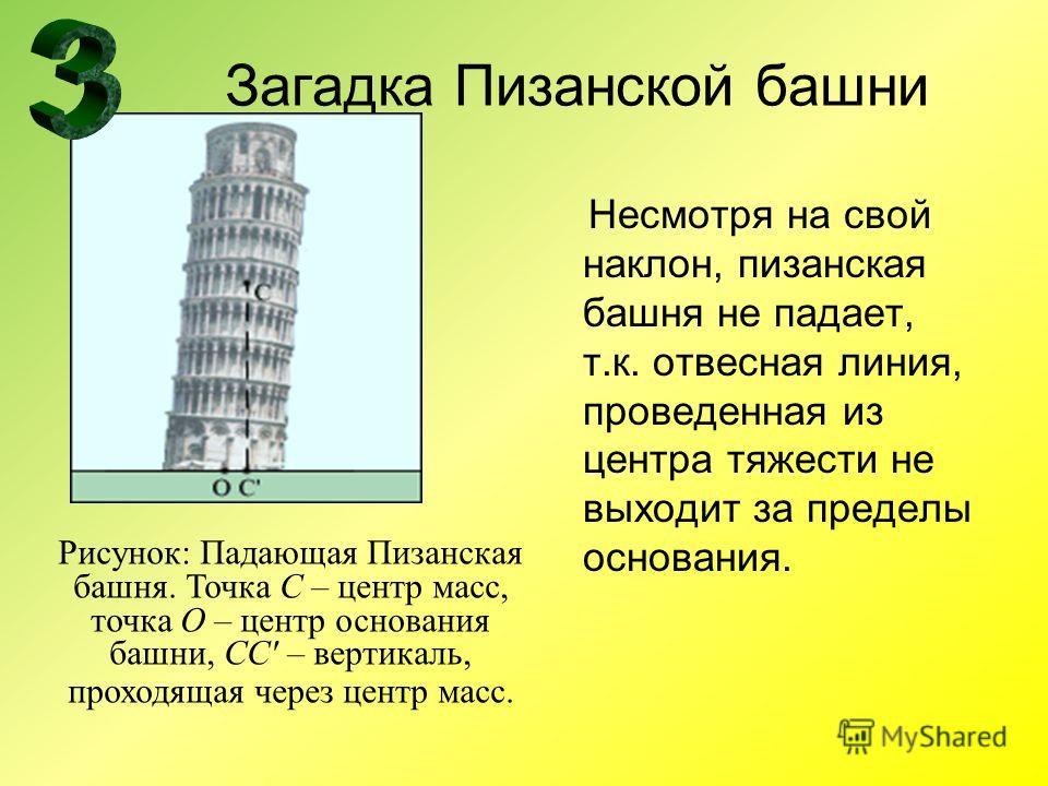 Загадка Пизанской башни Несмотря на свой наклон, пизанская башня не падает, т.к. отвесная линия, проведенная из центра тяжести не выходит за пределы основания. Рисунок: Падающая Пизанская башня. Точка C – центр масс, точка O – центр основания башни,