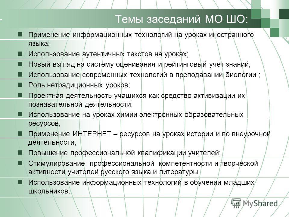 Темы заседаний МО ШО: Применение информационных технологий на уроках иностранного языка; Использование аутентичных текстов на уроках; Новый взгляд на систему оценивания и рейтинговый учёт знаний; Использование современных технологий в преподавании би