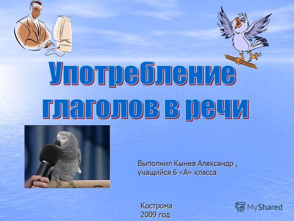 Кострома 2009 год Выполнил Кынев Александр, учащийся 6 «А» класса