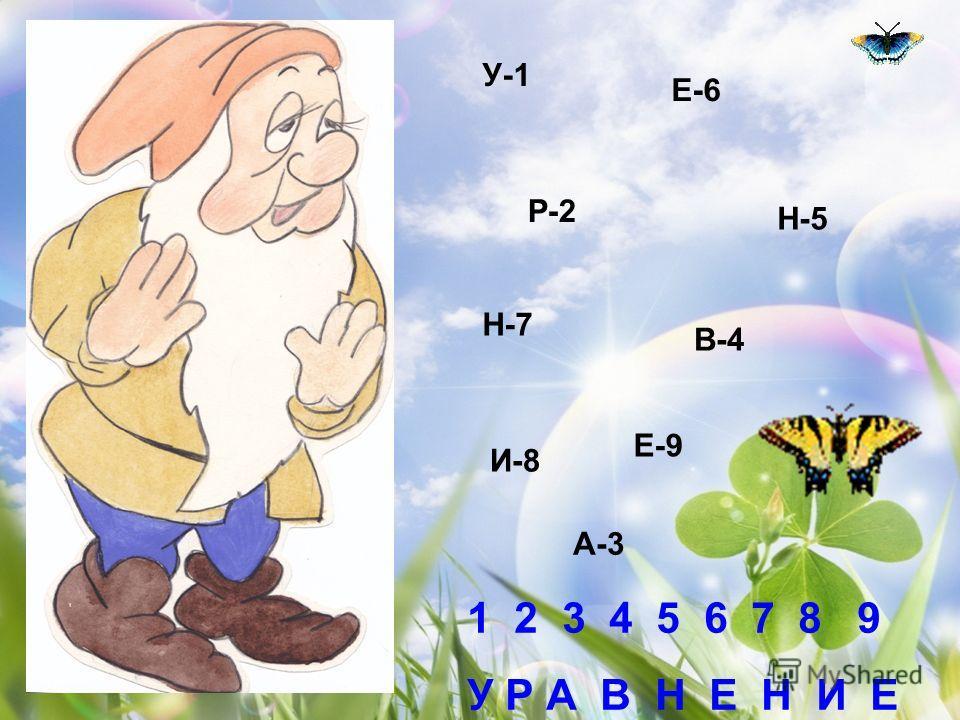 У-1 Е-6 Р-2 Н-5 Н-7 В-4 Е-9 А-3 И-8 1 2 3 4 5 6 7 8 9 У Р А В Н Е Н И Е