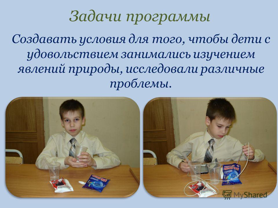 Задачи программы Создавать условия для того, чтобы дети с удовольствием занимались изучением явлений природы, исследовали различные проблемы.