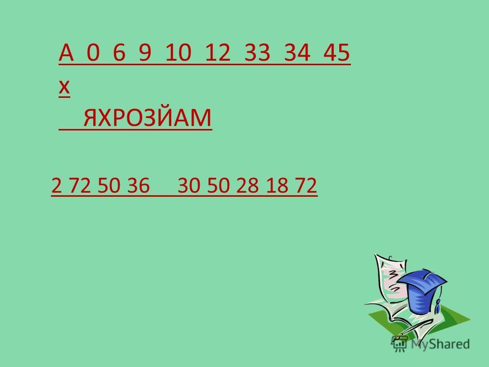 А 0 6 9 10 12 33 34 45 х ЯХРОЗЙАМ 2 72 50 36 30 50 28 18 72