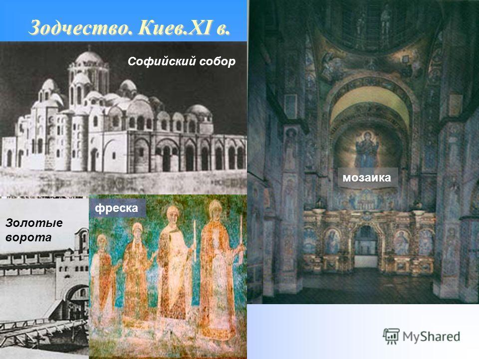Зодчество. Киев.XI в. мозаика фреска Софийский собор Золотые ворота