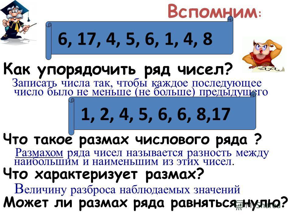 Вспомним : Как упорядочить ряд чисел? Записать числа так, чтобы каждое последующее число было не меньше (не больше) предыдущего Что такое размах числового ряда ? Размахом ряда чисел называется разность между наибольшим и наименьшим из этих чисел. Что