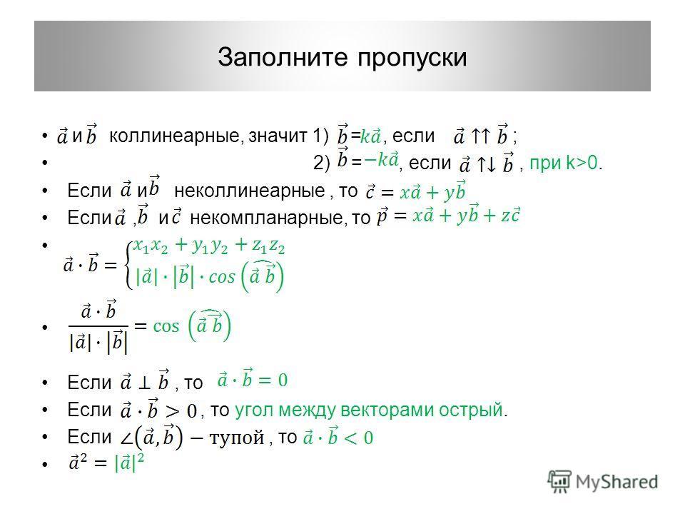 Заполните пропуски и коллинеарные, значит 1) =, если ; 2) =, если, при k>0. Если и неколлинеарные, то Если, и некомпланарные, то Если, то Если, то угол между векторами острый. Если, то