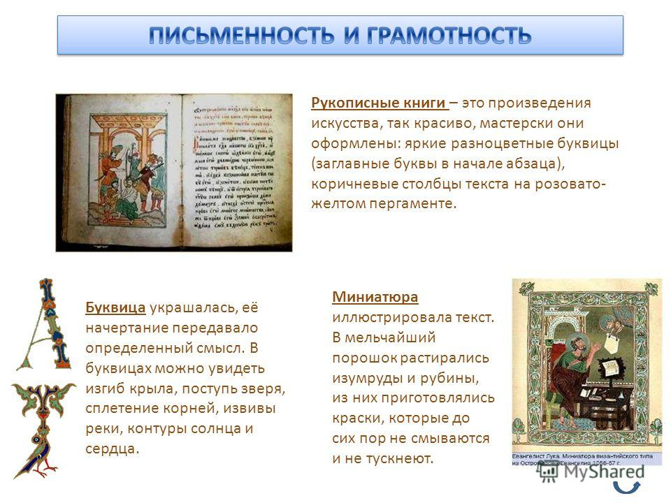 Рукописные книги – это произведения искусства, так красиво, мастерски они оформлены: яркие разноцветные буквицы (заглавные буквы в начале абзаца), коричневые столбцы текста на розовато- желтом пергаменте. Буквица украшалась, её начертание передавало