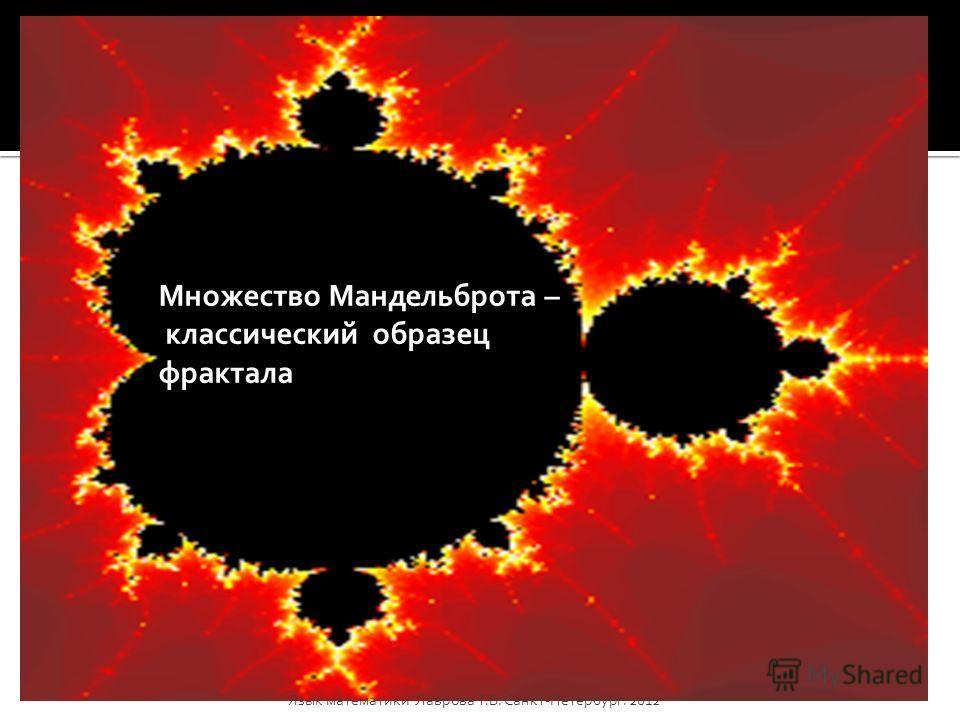 Множество Мандельброта – классический образец фрактала Язык математикиЛаврова Т.В. Санкт-Петербург. 2012