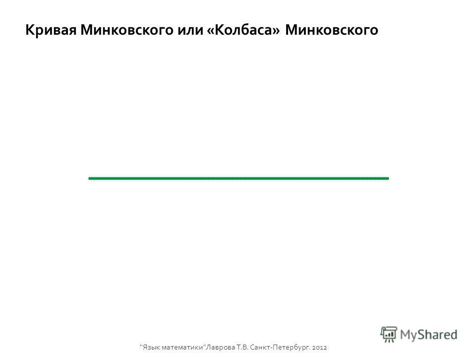 Кривая Минковского или «Колбаса» Минковского Язык математикиЛаврова Т.В. Санкт-Петербург. 2012