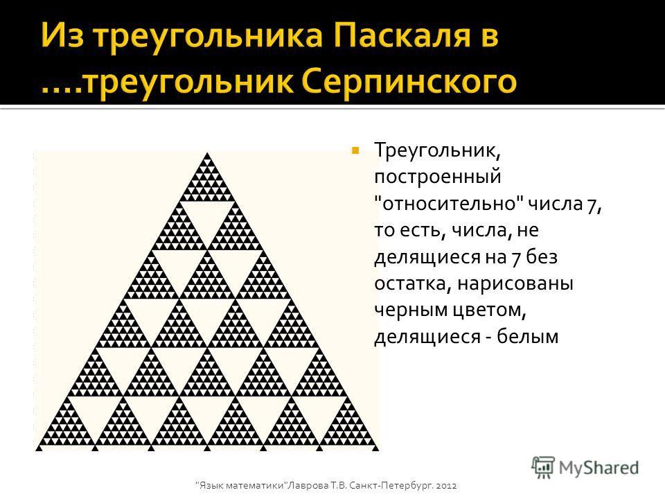 Треугольник, построенный относительно числа 7, то есть, числа, не делящиеся на 7 без остатка, нарисованы черным цветом, делящиеся - белым Язык математикиЛаврова Т.В. Санкт-Петербург. 2012
