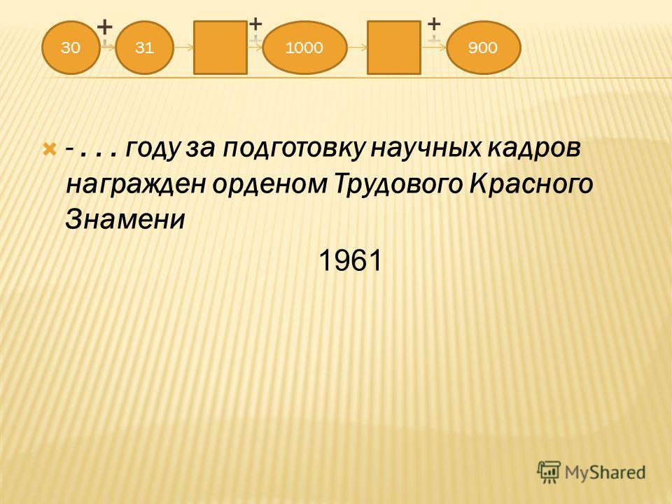 -... году за подготовку научных кадров награжден орденом Трудового Красного Знамени 1961 30311000900