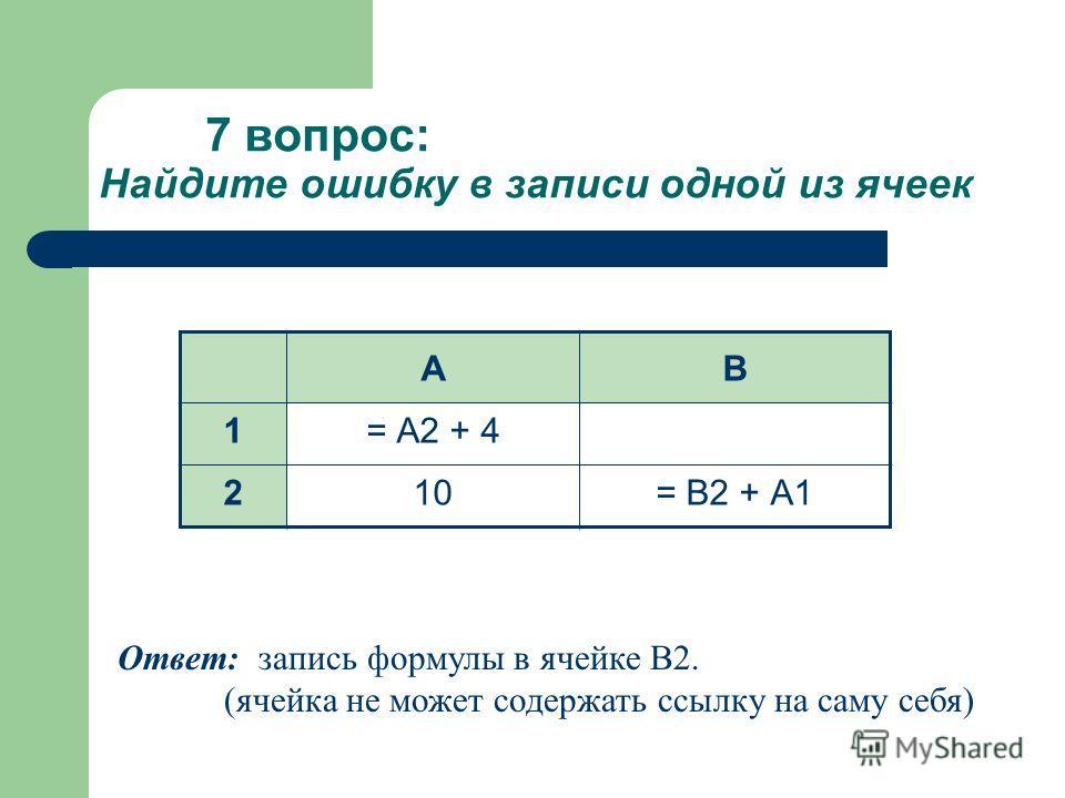 7 вопрос: Найдите ошибку в записи одной из ячеек АВ 1= А2 + 4 210= В2 + А1 Ответ: запись формулы в ячейке В2. (ячейка не может содержать ссылку на саму себя)