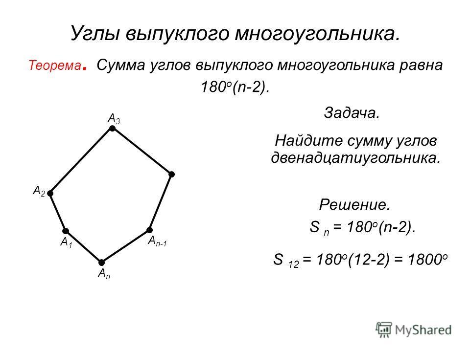 Углы выпуклого многоугольника. Теорема. Сумма углов выпуклого многоугольника равна 180 о (n-2). А1А1 А3А3 А n-1 АnАn А2А2 Найдите сумму углов двенадцатиугольника. Решение. S n = 180 о (n-2). S 12 = 180 о (12-2) = 1800 о Задача.