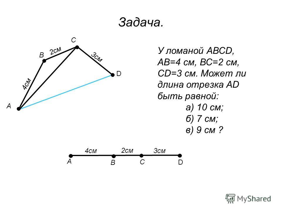 У ломаной АВСD, АВ=4 см, ВС=2 см, СD=3 см. Может ли длина отрезка АD быть равной: а) 10 см; б) 7 см; в) 9 см ? Задача. 4см В С D 2см 3см А А В С D 4см 2см 3см