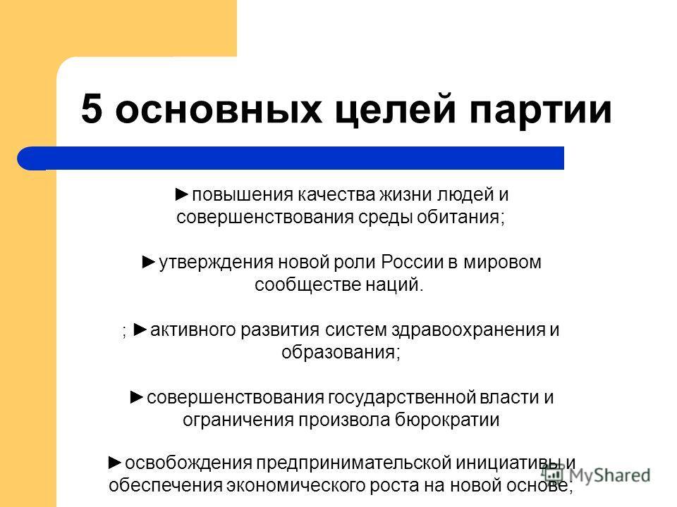 5 основных целей партии повышения качества жизни людей и совершенствования среды обитания; утверждения новой роли России в мировом сообществе наций. ; активного развития систем здравоохранения и образования; совершенствования государственной власти и