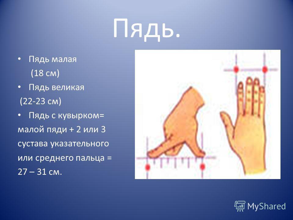 Пядь. Пядь малая (18 см) Пядь великая (22-23 см) Пядь с кувырком= малой пяди + 2 или 3 сустава указательного или среднего пальца = 27 – 31 см.