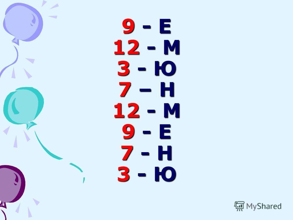 9 - Е 12 - М 3 - Ю 7 – Н 12 - М 9 - Е 7 - Н 3 - Ю