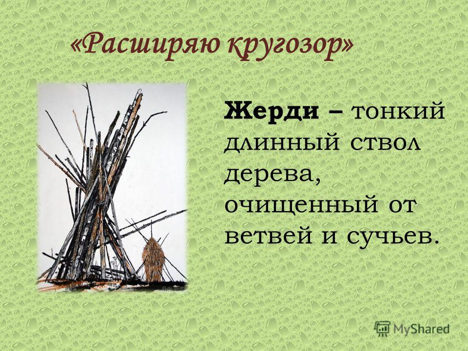 «Расширяю кругозор» Жерди – тонкий длинный ствол дерева, очищенный от ветвей и сучьев.