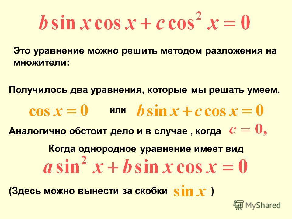 Аналогично обстоит дело и в случае, когда Когда однородное уравнение имеет вид (Здесь можно вынести за скобки ) Это уравнение можно решить методом разложения на множители: Получилось два уравнения, которые мы решать умеем. или