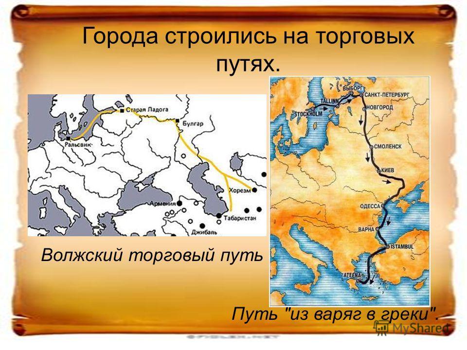 Города строились на торговых путях. Путь из варяг в греки. Волжский торговый путь