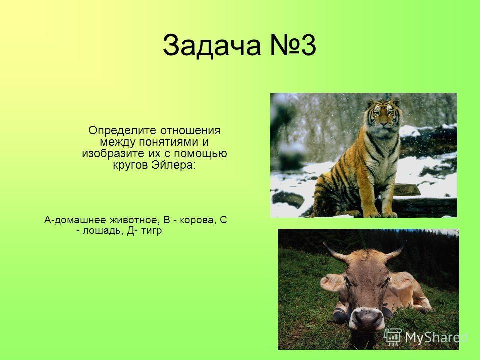 Задача 3 Определите отношения между понятиями и изобразите их с помощью кругов Эйлера: А-домашнее животное, В - корова, С - лошадь, Д- тигр