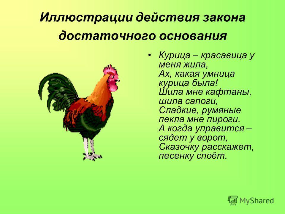 Иллюстрации действия закона достаточного основания Курица – красавица у меня жила, Ах, какая умница курица была! Шила мне кафтаны, шила сапоги, Сладкие, румяные пекла мне пироги. А когда управится – сядет у ворот, Сказочку расскажет, песенку споёт.