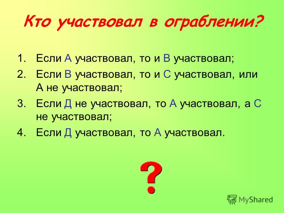 Кто участвовал в ограблении? 1.Если А участвовал, то и В участвовал; 2.Если В участвовал, то и С участвовал, или А не участвовал; 3.Если Д не участвовал, то А участвовал, а С не участвовал; 4.Если Д участвовал, то А участвовал.