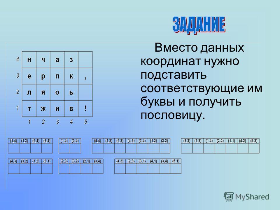 Вместо данных координат нужно подставить соответствующие им буквы и получить пословицу.