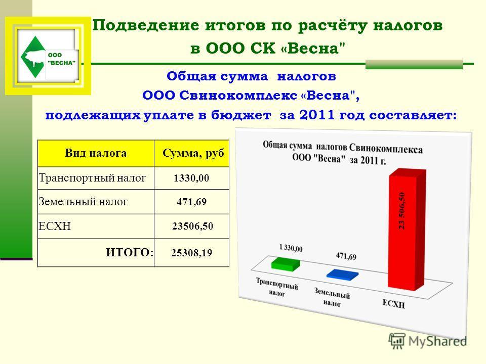 Подведение итогов по расчёту налогов в ООО СК «Весна