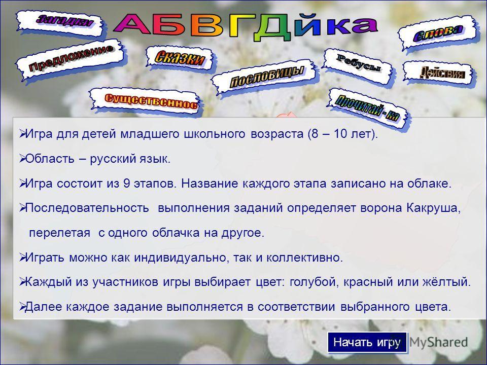 Начать игру Игра для детей младшего школьного возраста (8 – 10 лет). Область – русский язык. Игра состоит из 9 этапов. Название каждого этапа записано на облаке. Последовательность выполнения заданий определяет ворона Какруша, перелетая с одного обла