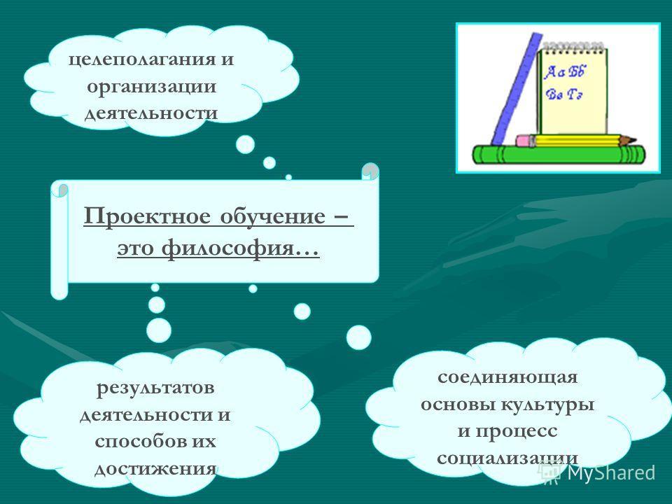 Проектное обучение – это философия… целеполагания и организации деятельности результатов деятельности и способов их достижения соединяющая основы культуры и процесс социализации