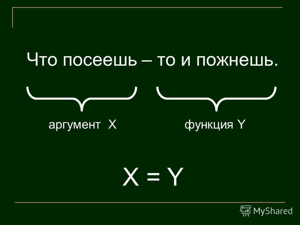 Что посеешь – то и пожнешь. функция Yаргумент X X = Y
