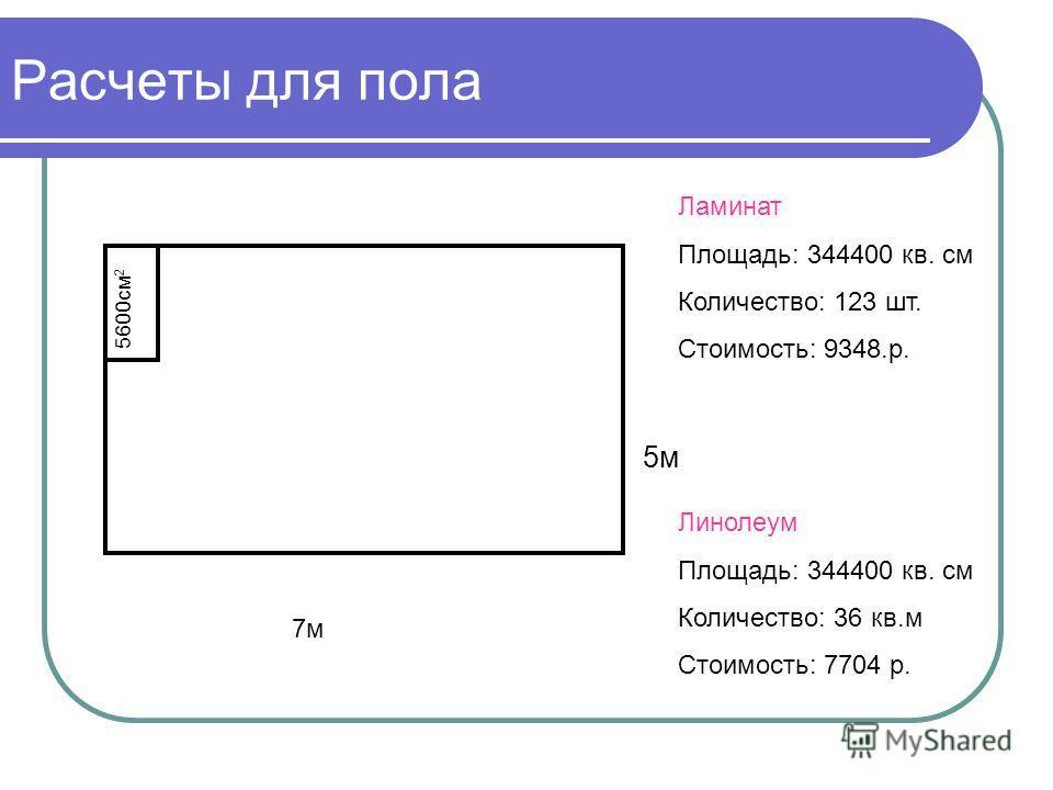 Расчеты для пола 5м 7м 5600см 2 Ламинат Площадь: 344400 кв. см Количество: 123 шт. Стоимость: 9348.р. Линолеум Площадь: 344400 кв. см Количество: 36 кв.м Стоимость: 7704 р.