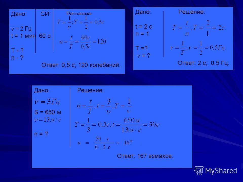 Дано: СИ: Решение: ν = 2 Гц t = 1 мин 60 с Т - ? n - ? Ответ: 0,5 с; 120 колебаний. Дано: Решение: t = 2 с n = 1 T =? ν = ? Ответ: 2 с; 0,5 Гц. Дано: Решение: S = 650 м n = ? Ответ: 167 взмахов.