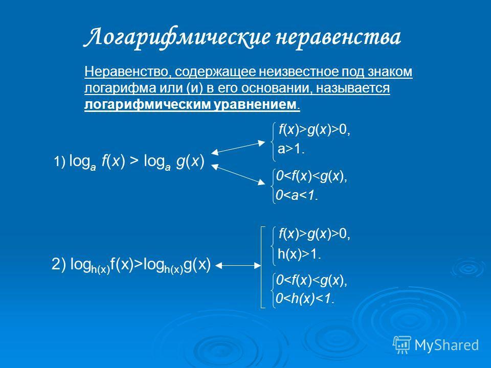 1) log a f(x) > log a g(x) Неравенство, содержащее неизвестное под знаком логарифма или (и) в его основании, называется логарифмическим уравнением. Логарифмические неравенства f(x)>g(x)>0, a>1. 01. 0