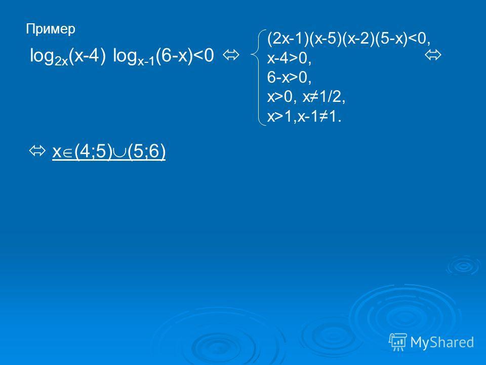 Пример log 2x (x-4) log x-1 (6-x)0, x>0, x1/2, x>1,x-11. x (4;5) (5;6)