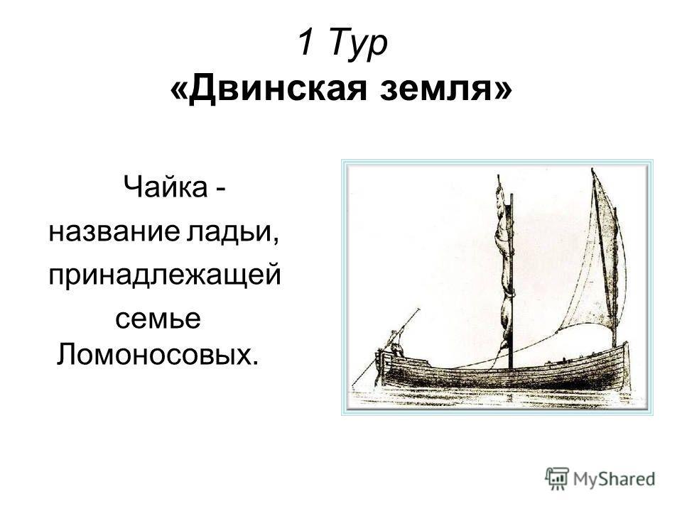1 Тур «Двинская земля» Чайка - название ладьи, принадлежащей семье Ломоносовых.
