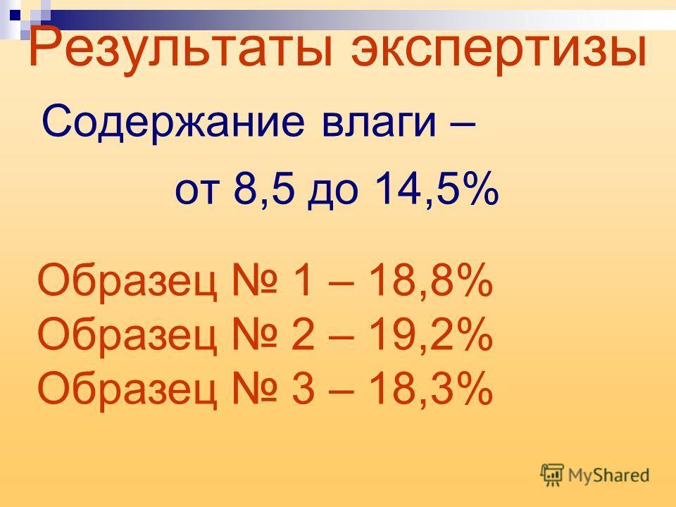 Результаты экспертизы Содержание влаги – от 8,5 до 14,5% Образец 1 – 18,8% Образец 2 – 19,2% Образец 3 – 18,3%