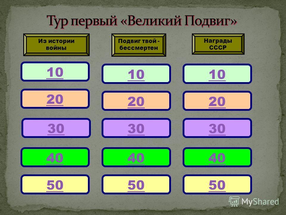 10 20 30 40 50 Подвиг твой - бессмертен Награды СССР Из истории войны