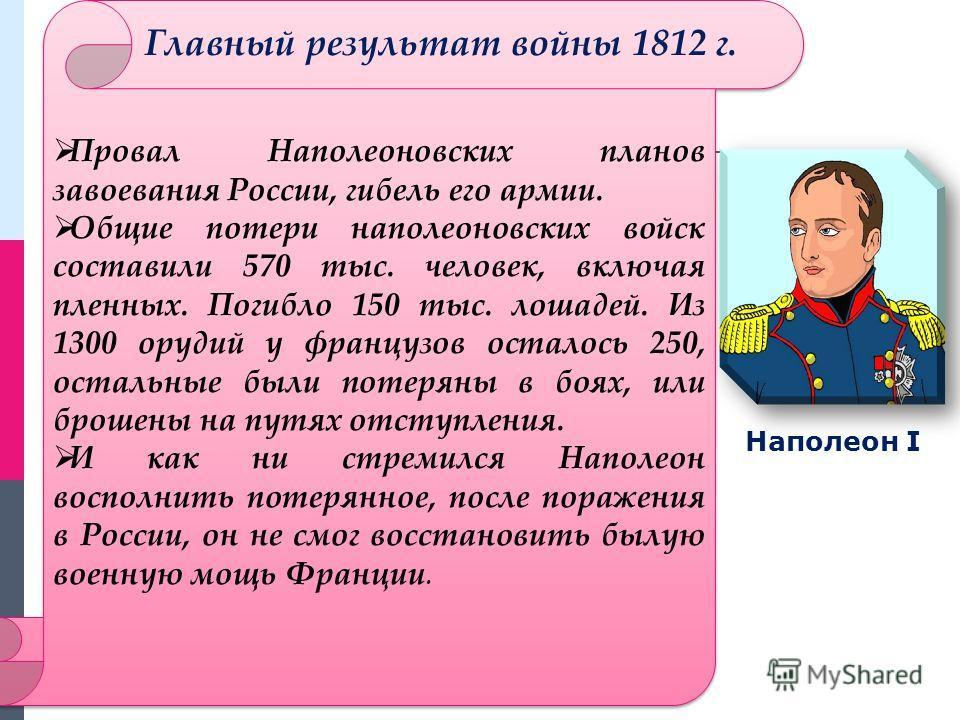 Провал Наполеоновских планов завоевания России, гибель его армии. Общие потери наполеоновских войск составили 570 тыс. человек, включая пленных. Погибло 150 тыс. лошадей. Из 1300 орудий у французов осталось 250, остальные были потеряны в боях, или бр