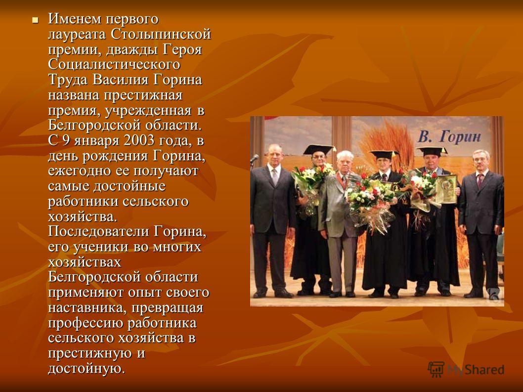 Именем первого лауреата Столыпинской премии, дважды Героя Социалистического Труда Василия Горина названа престижная премия, учрежденная в Белгородской области. С 9 января 2003 года, в день рождения Горина, ежегодно ее получают самые достойные работни