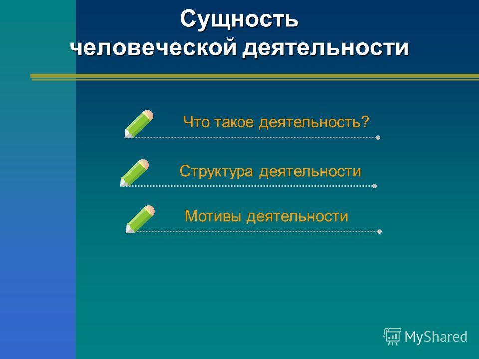 Сущность человеческой деятельности Что такое деятельность?Структура деятельности Мотивы деятельности