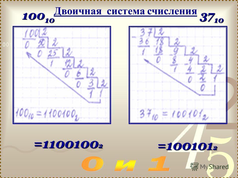 100 10 37 10 =1100100 2 =100101 2 Двоичная система счисления