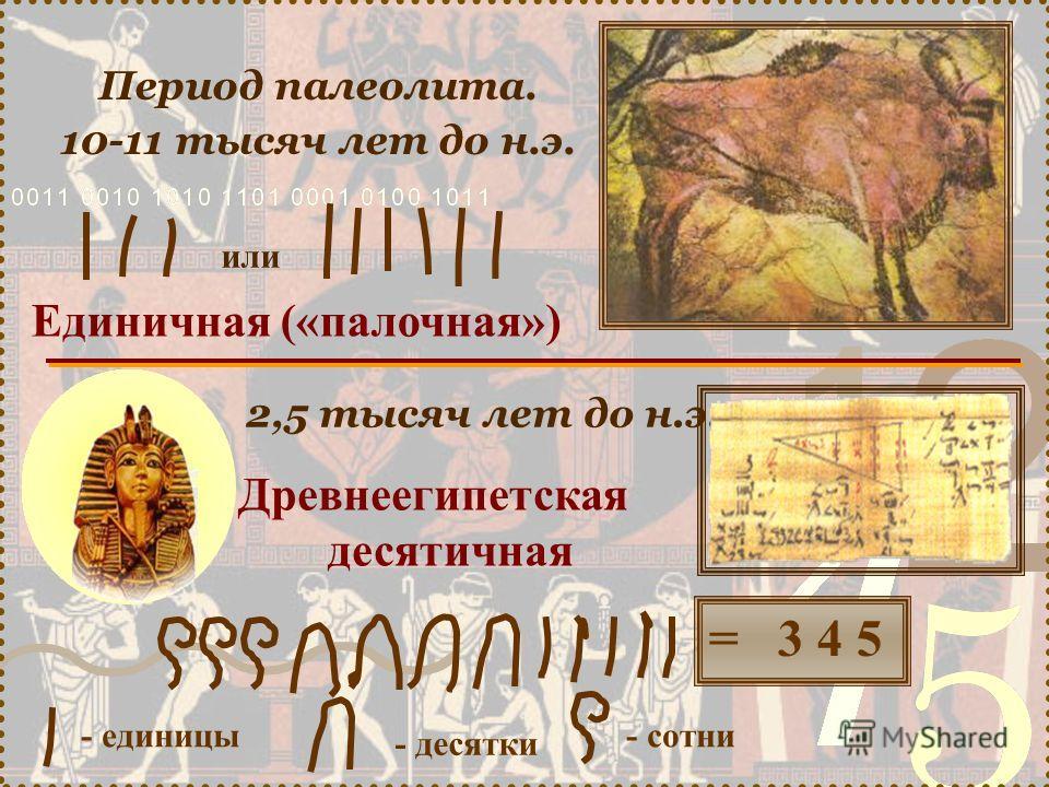 Единичная («палочная») Период палеолита. 10-11 тысяч лет до н.э. 2,5 тысяч лет до н.э. Древнеегипетская десятичная - единицы - десятки - сотни = 3 4 5 или