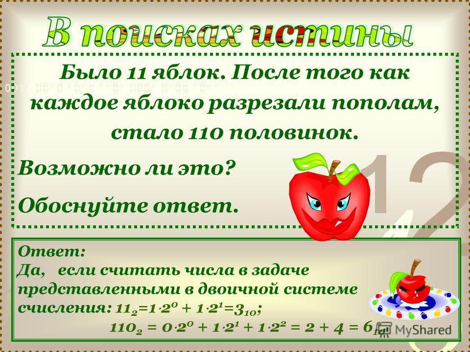 Было 11 яблок. После того как каждое яблоко разрезали пополам, стало 110 половинок. Возможно ли это? Обоснуйте ответ. Ответ: Да, если считать числа в задаче представленными в двоичной системе счисления: 11 2 =1 2 0 + 1 2 1 =3 10 ; 110 2 = 0 2 0 + 1 2