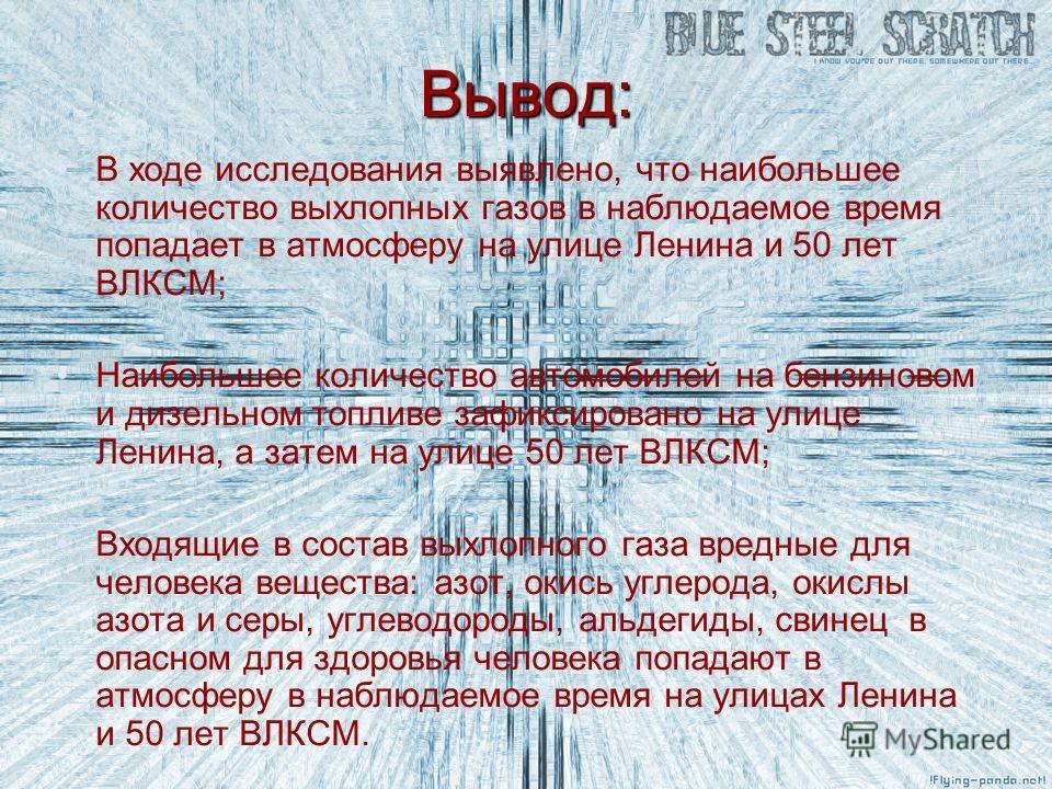 Вывод: В ходе исследования выявлено, что наибольшее количество выхлопных газов в наблюдаемое время попадает в атмосферу на улице Ленина и 50 лет ВЛКСМ; Наибольшее количество автомобилей на бензиновом и дизельном топливе зафиксировано на улице Ленина,